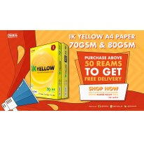 Purchase Above 50 Reams IK Yellow A4 Paper To Get Free Delivery | OFISKITA