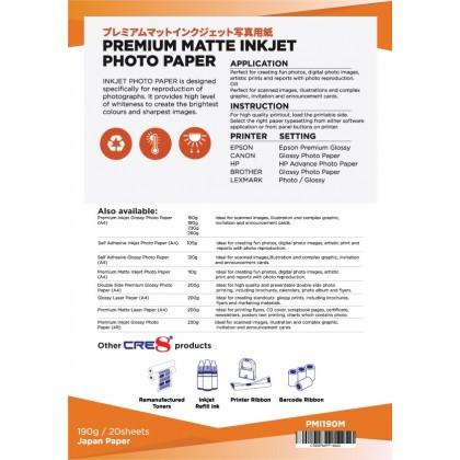 CRE8 A4 190gsm Premium Matte Inkjet Photo Paper (20 Sheets)