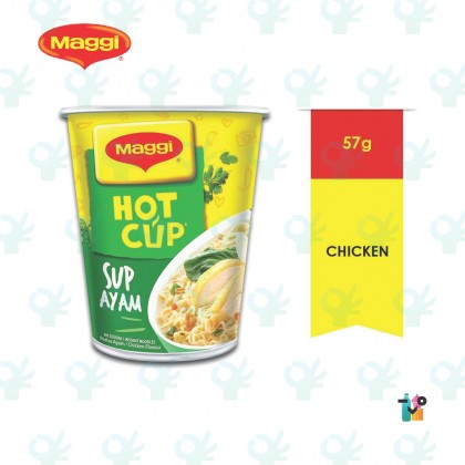 Nestle Maggi Hot Cup Sup Ayam Instant Noodles 57G 6 Cups Packing