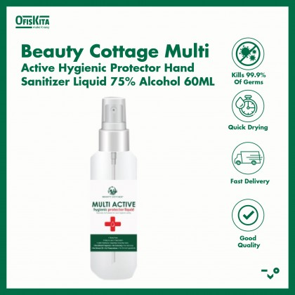 Beauty Cottage Multi Active Hygienic Protector Hand Sanitizer Liquid 75% Alcohol 60ML