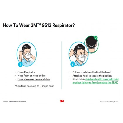 3M Particulate Respirator KN95 Mask Adult 3 PCS / Pack (9153) (MEDICAL)